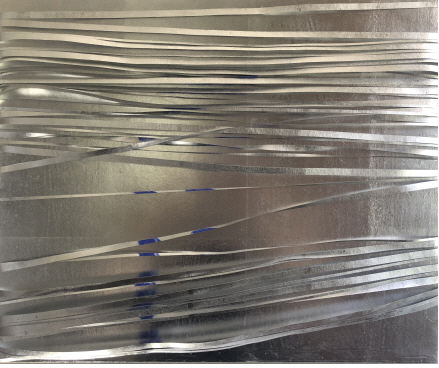 문진영 작. 물질로서의 색, 빛으로서의 색, 그리고 그들 공간에서의 대화- 연작 4, 2021, 종이.알류미늄.석채, 45.5x37.9cm