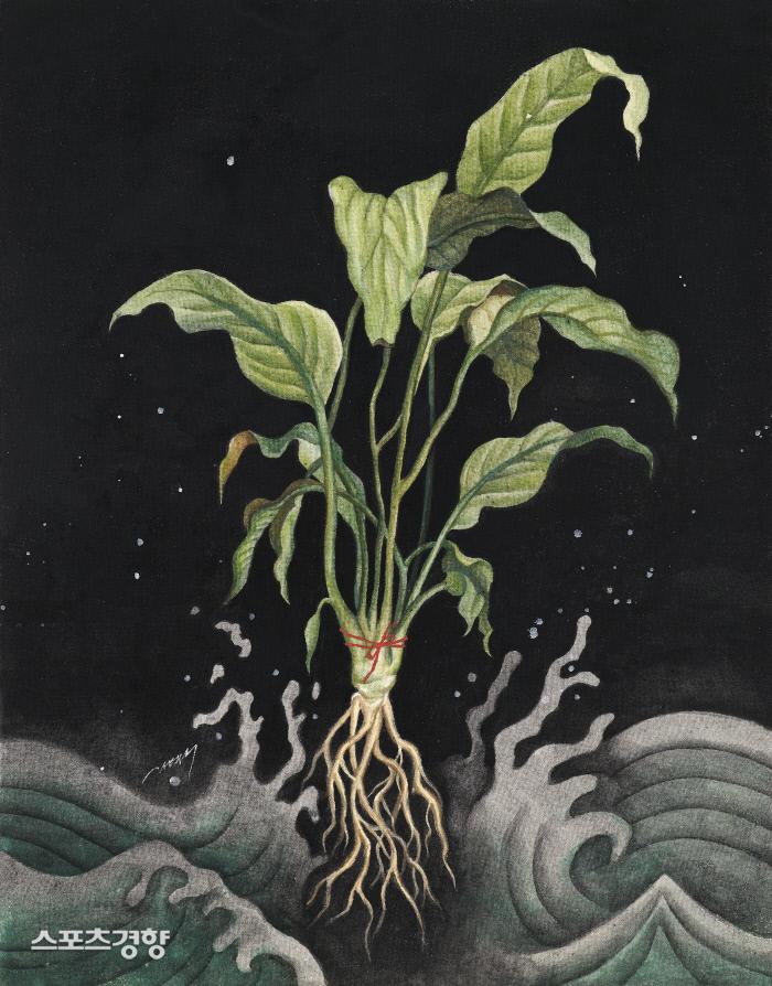 한혜수 '단단한 개인' 40.9×31.8cm,린넨에 석채,2020
