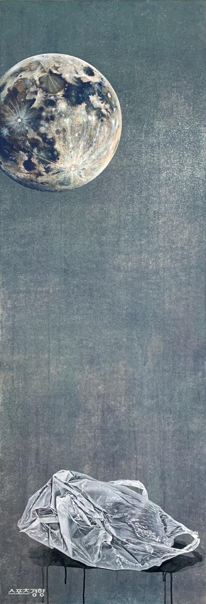 최단미 thrown, 157X60cm, 장지에채색, 2021
