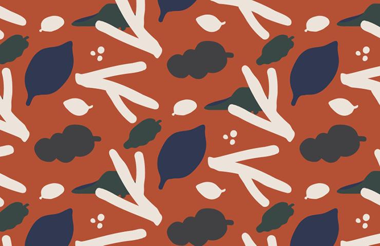 아이들의 이야기에서 탄생하는 에이드런의 디자인. 해당 패턴의 이름은 낙엽 속 꽁꽁.
