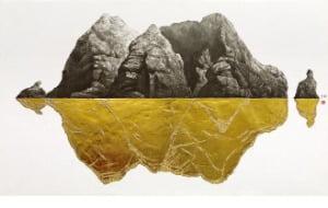 [그림이 있는 아침] 수묵과 金이 그린 독도…이철규 '독도무진도'