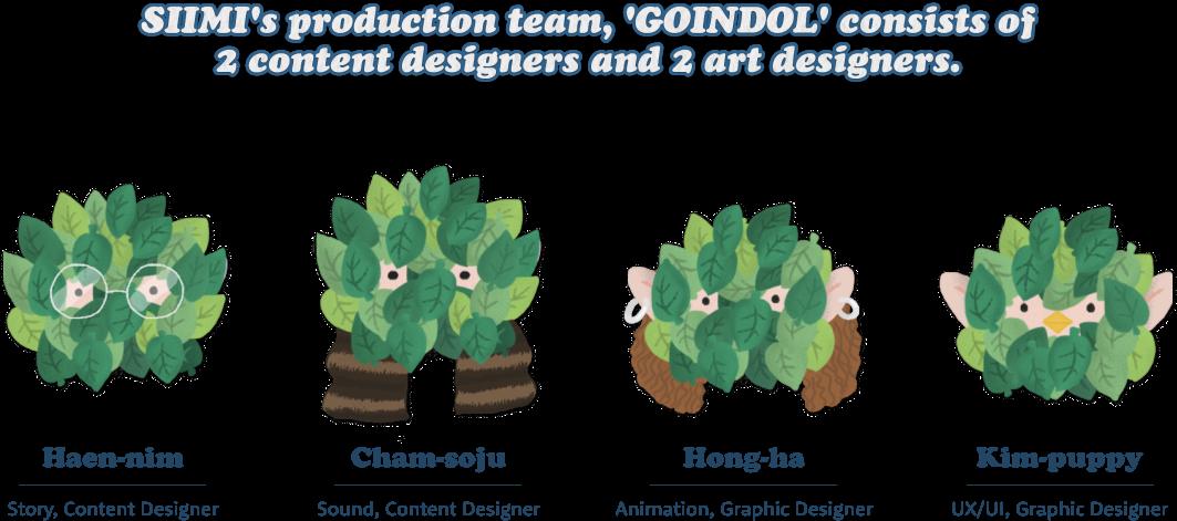 SIIMI's production team, 'GOINDOL' consists of 2 content designers and 2 art designers. (Haen-nim/ Story, Content designer Cham-soju / Sound, Content designer Hong-ha / Animation, Graphic designer Kim-puppy/ UI/UX, Graphic designer)